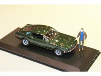 FORD MUSTANG GT 1968 BULLIT + FIGURINE GREENLIGHT 1/43°