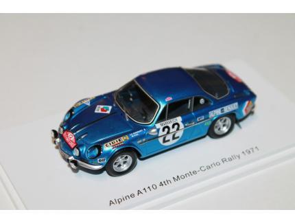 ALPINE A110 N°22 4TH MONTE CARLO RALLYE 1971 SPARK 1/43°