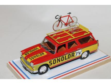 PEUGEOT 404 BREAK EQUIPE SONOLOR TV TDF 1973 AUTORECLAME 1/43°