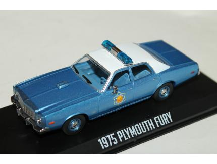 "PLYMOUTH FURY ""SMOKEY"" BLEU 1975 GREENLIGHT 1/43°"