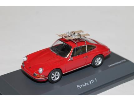 PORSCHE 911 S 1972 ROUGE + SKI SCHUCO 1/43°