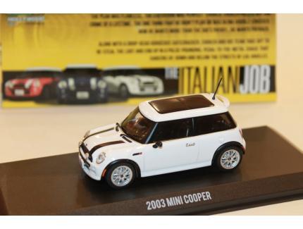 """MINI COOPER BLANCHE 2003 """"BRAQUAGE A L'ITALIENNE"""" GREENLIGHT 1/43°"""