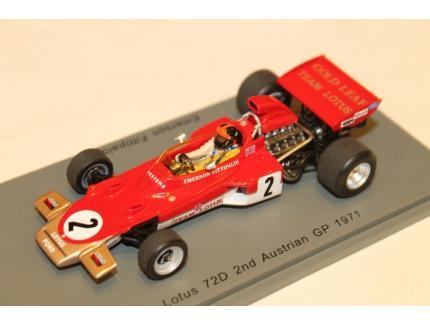 LOTUS 72D N°2 2ND AUSTRIAN GP 1971 SPARK 1/43°